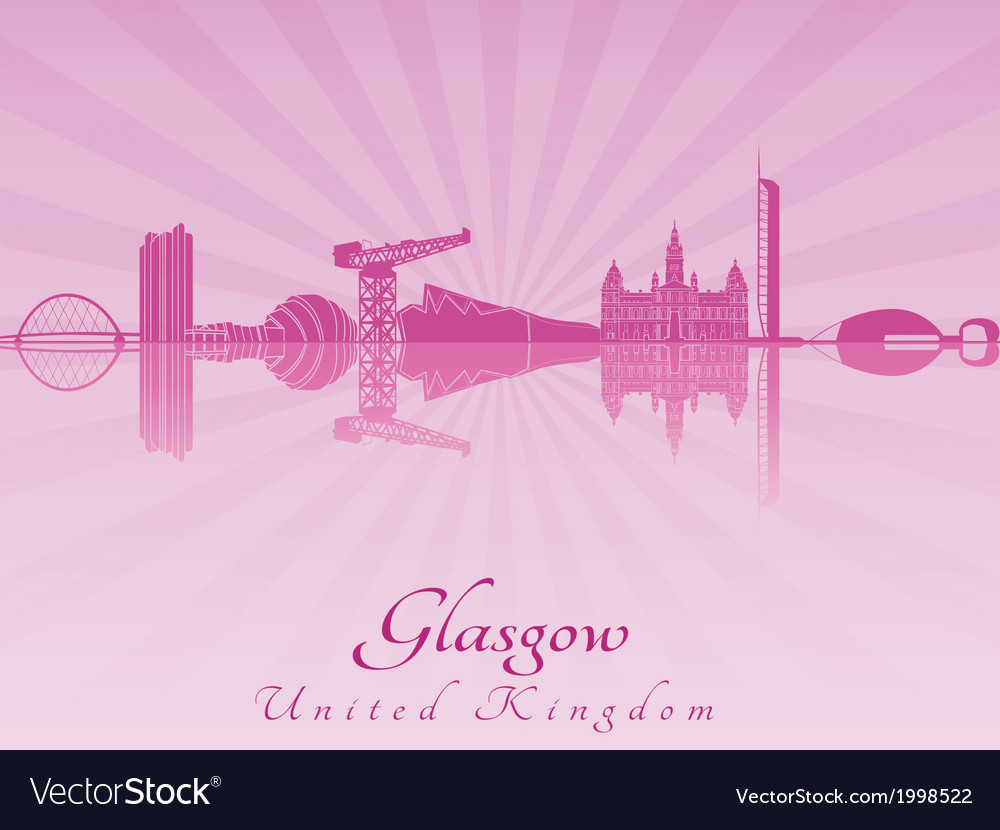 Glasgow skyline in purple radiant orchid vector | Price: 1 Credit (USD $1)