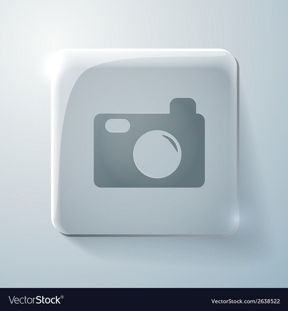 Glass square icon with highlights photo camera vector | Price: 1 Credit (USD $1)