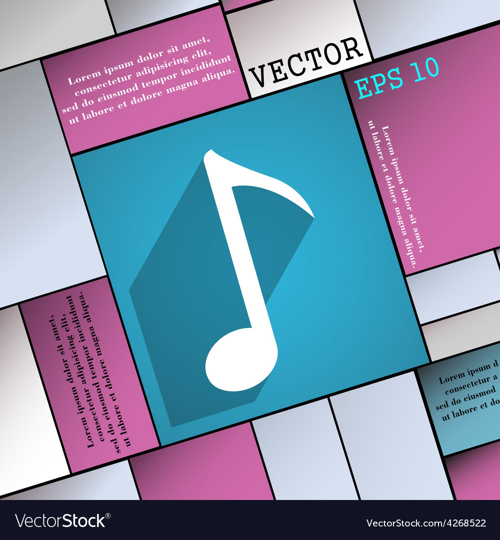 Music note icon symbol flat modern web design with vector | Price: 1 Credit (USD $1)