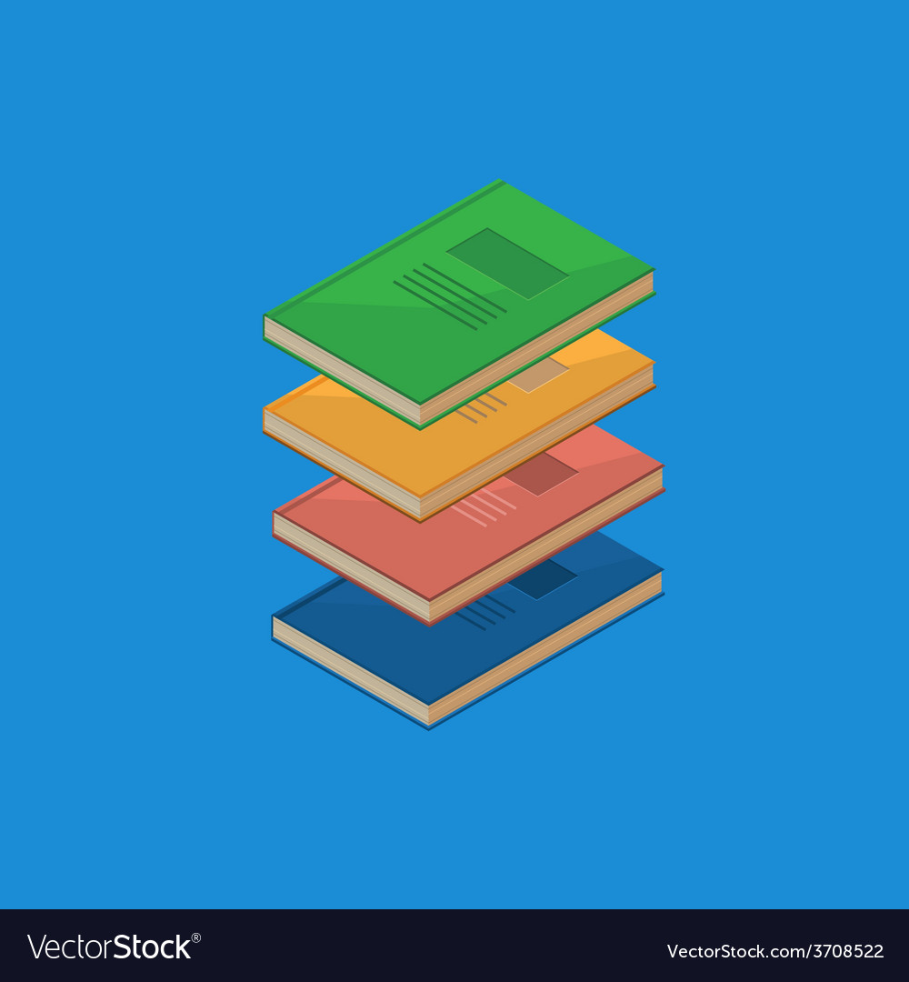 Set of 4 isometric books vector | Price: 1 Credit (USD $1)