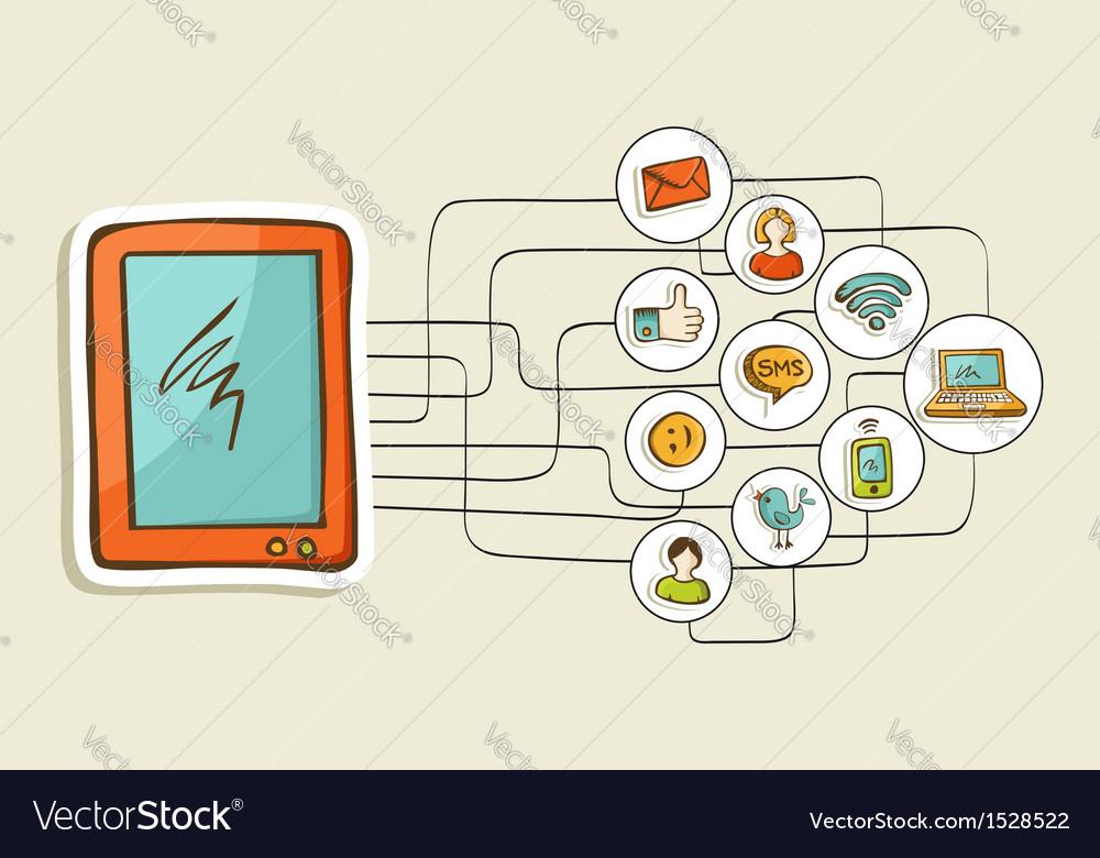 Social media tablet computer concept vector | Price: 1 Credit (USD $1)