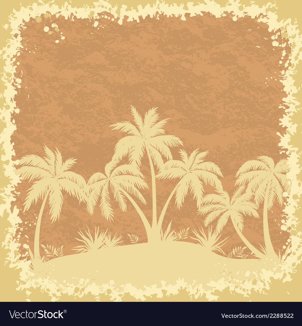 Tropical palms trees and grass silhouettes vector | Price: 1 Credit (USD $1)