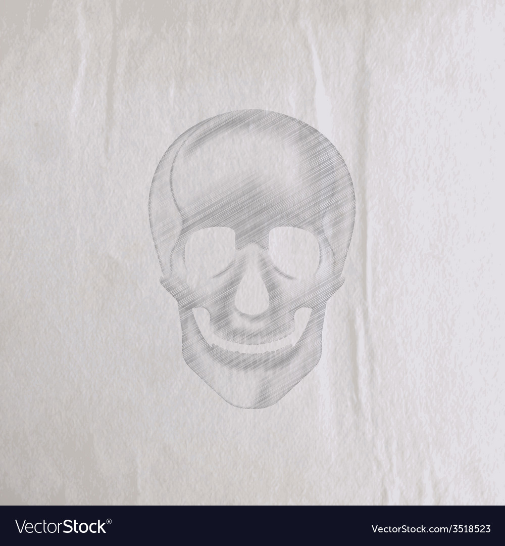 A hand-drawn pencil human skull on an old wrinkled vector | Price: 1 Credit (USD $1)