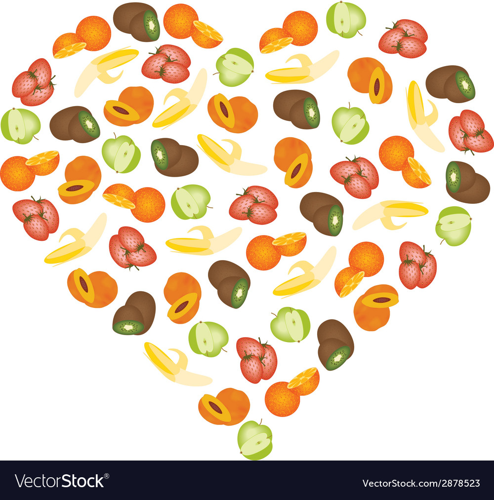 Fruits in heart vector | Price: 1 Credit (USD $1)