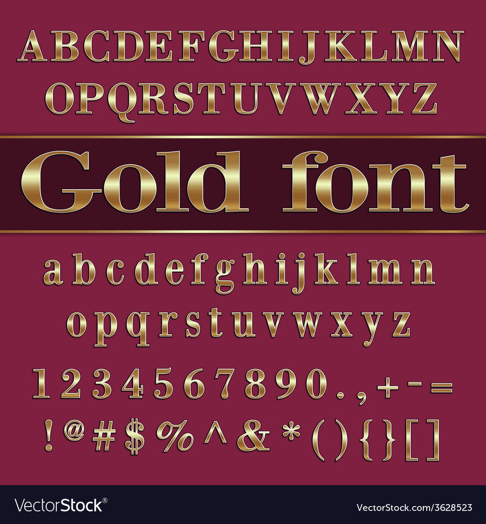 Gold coated alphabet letters and digits on purple vector | Price: 1 Credit (USD $1)