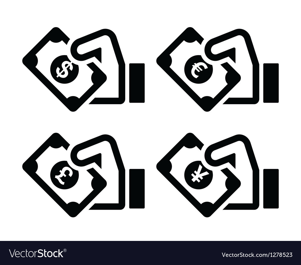 Hand with money icon - dollar euro yen pound vector | Price: 1 Credit (USD $1)