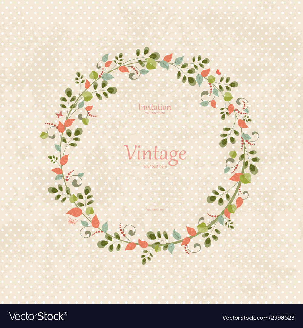 Invitation card with floral wreath for your design vector | Price: 1 Credit (USD $1)