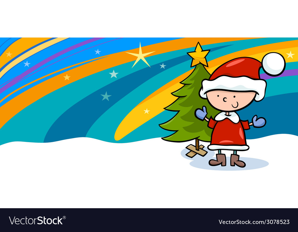 Kid on christmas cartoon greeting card vector | Price: 1 Credit (USD $1)