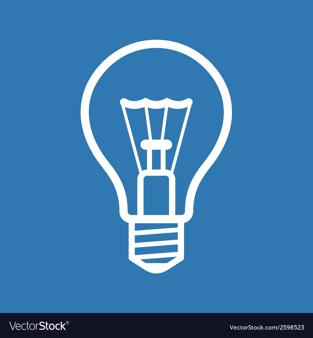Light bulb icon on blue background vector | Price: 1 Credit (USD $1)