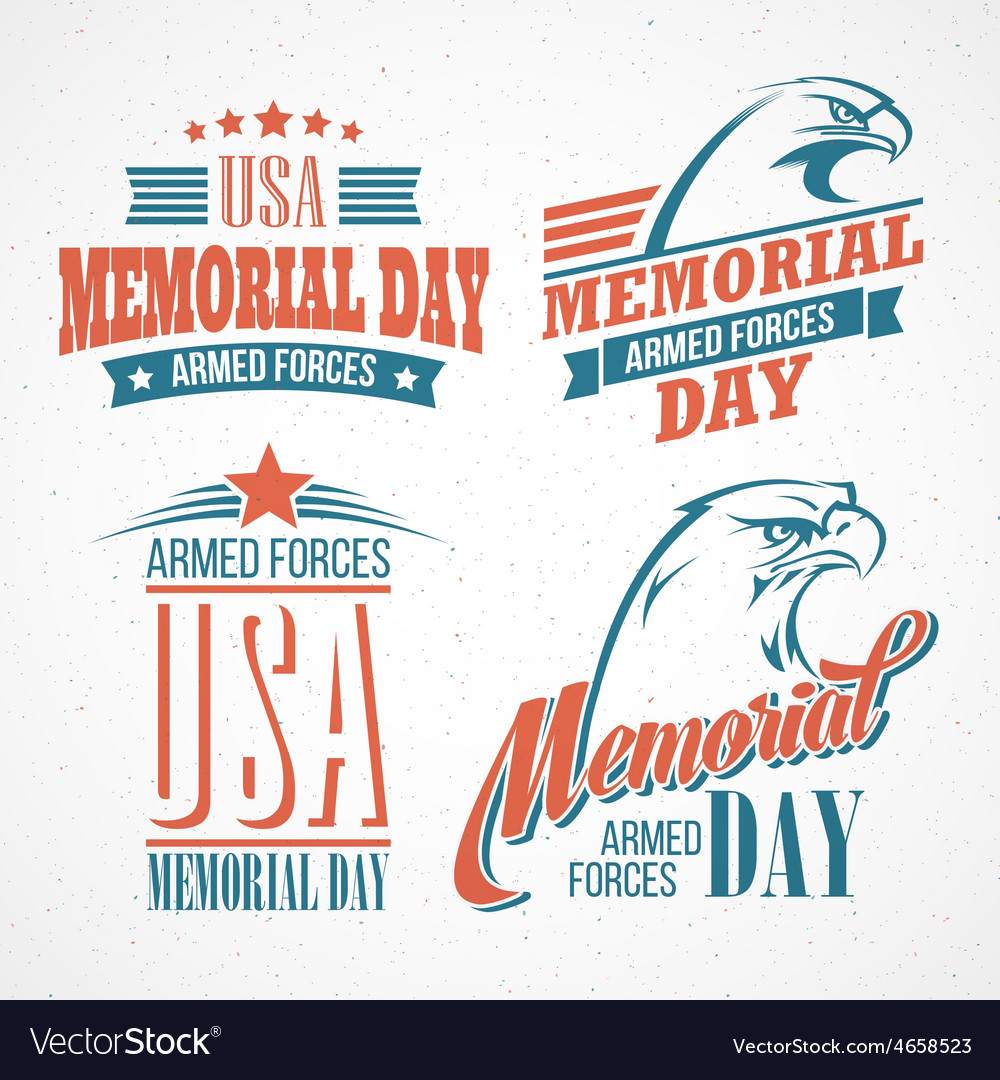 Memorial day typographic card with the american vector | Price: 3 Credit (USD $3)