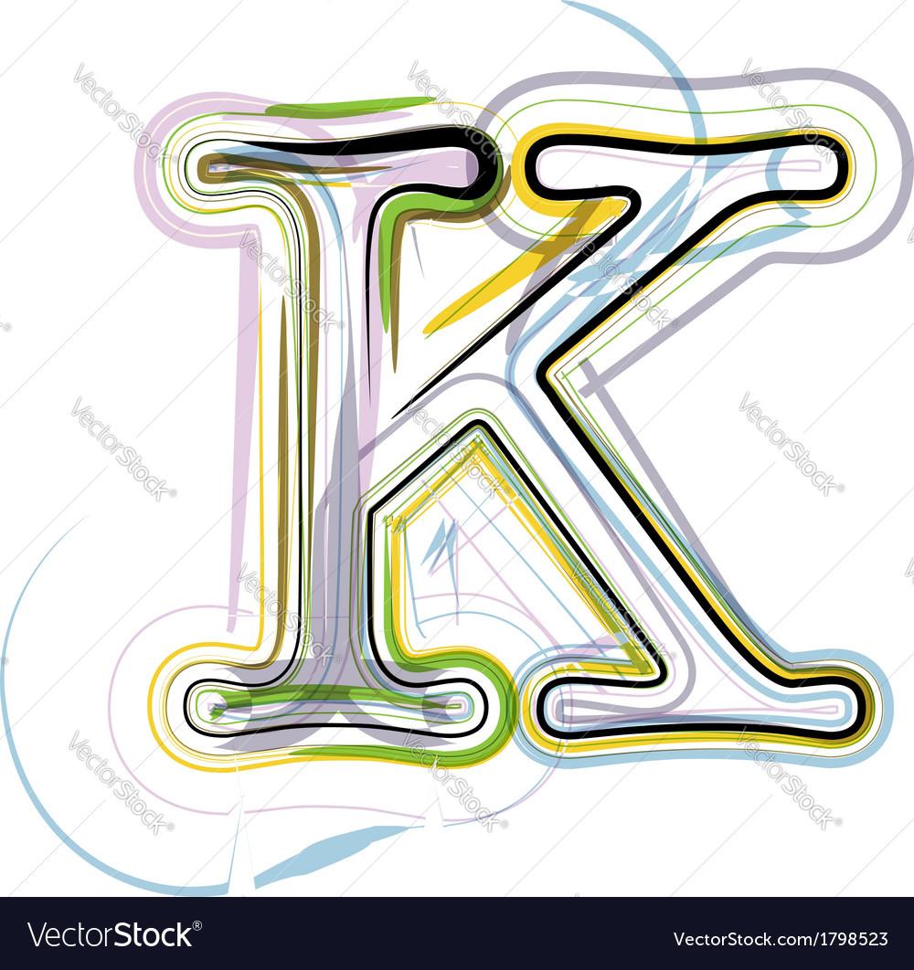 Organic font letter k vector | Price: 1 Credit (USD $1)