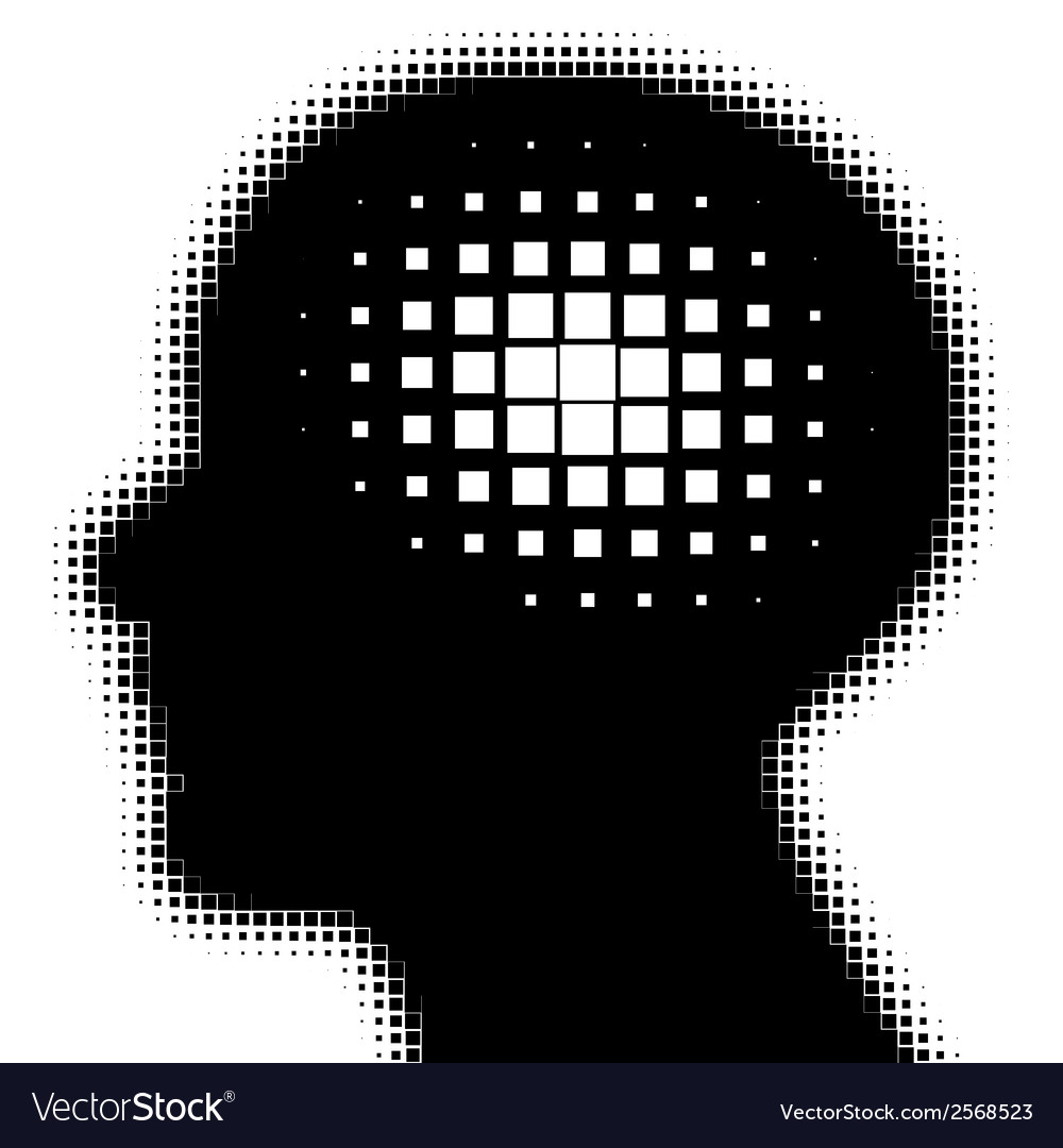 Pixeated profile with idea symbol vector | Price: 1 Credit (USD $1)