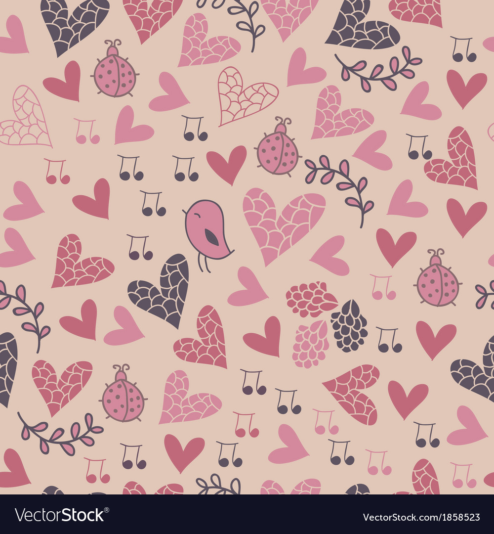 Romantic seamless pattern with birds flowers vector | Price: 1 Credit (USD $1)