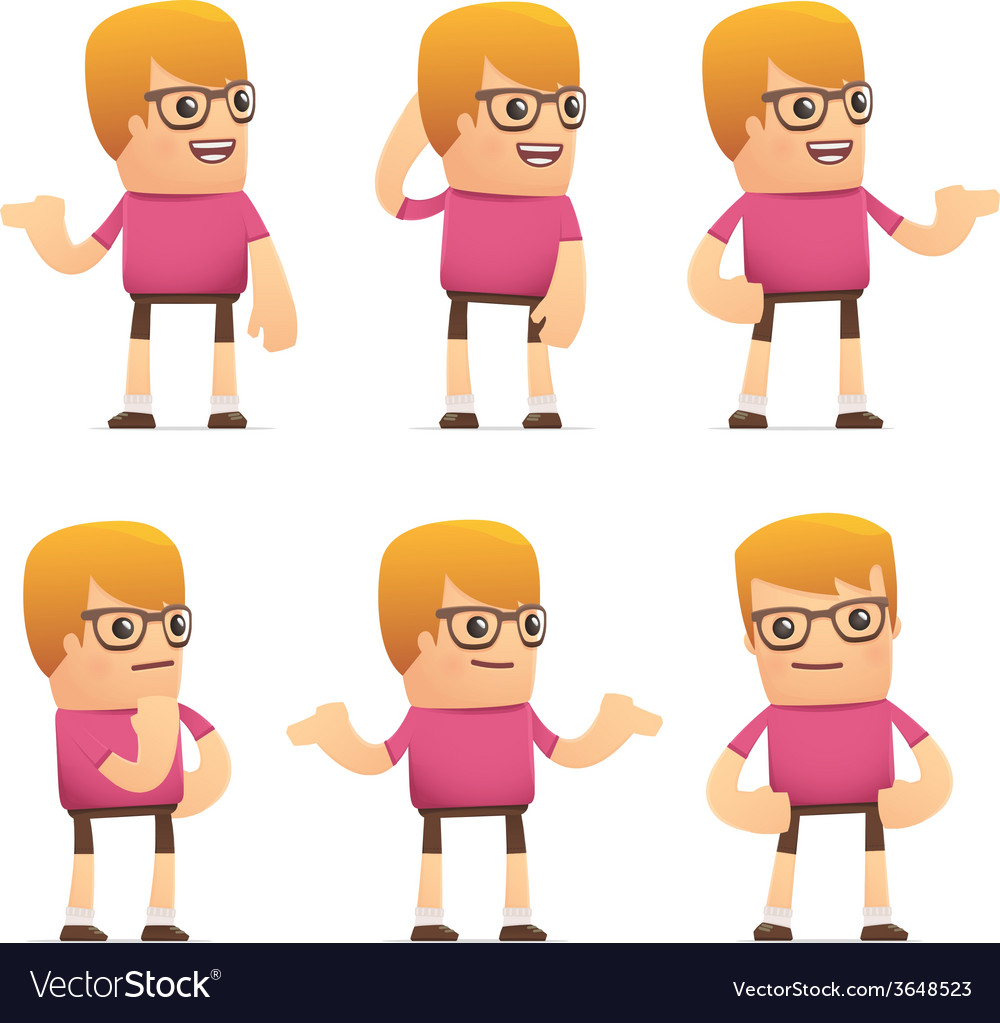 Set of dude character in different poses vector | Price: 1 Credit (USD $1)