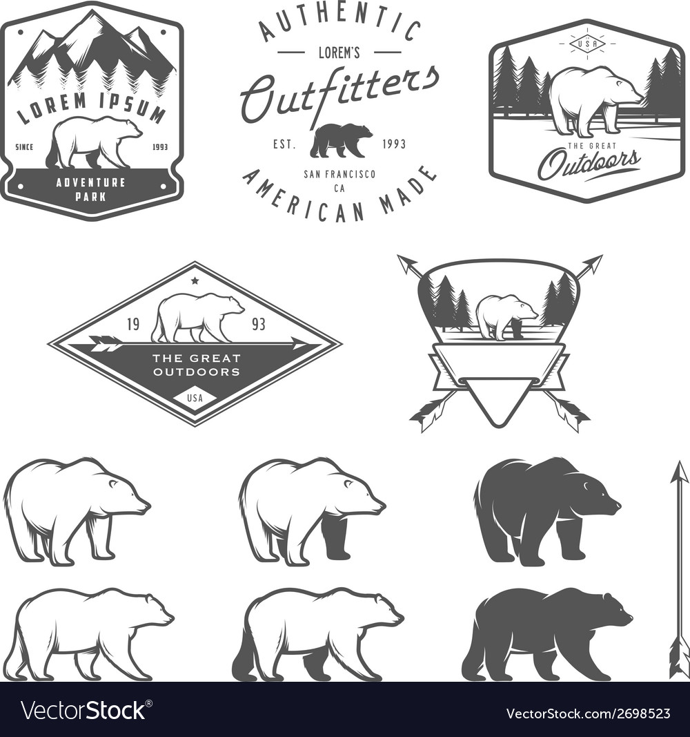 Set of vintage bear icons emblems and labels vector | Price: 1 Credit (USD $1)