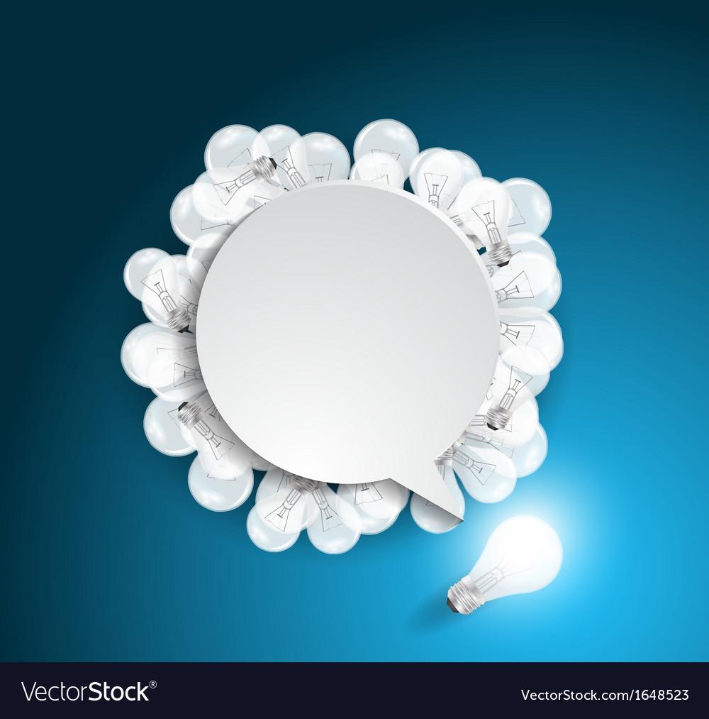 Speech bubble with light bulb idea concept vector | Price: 1 Credit (USD $1)
