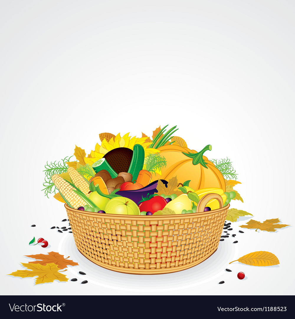 Thanksgiving basket with vegetables and fruits vector | Price: 1 Credit (USD $1)
