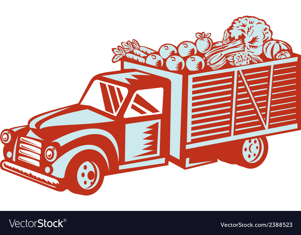 Vintage pickup truck delivery harvest retro vector | Price: 1 Credit (USD $1)