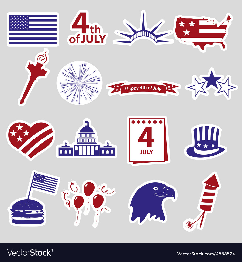 American independence day celebration stickes set vector | Price: 1 Credit (USD $1)