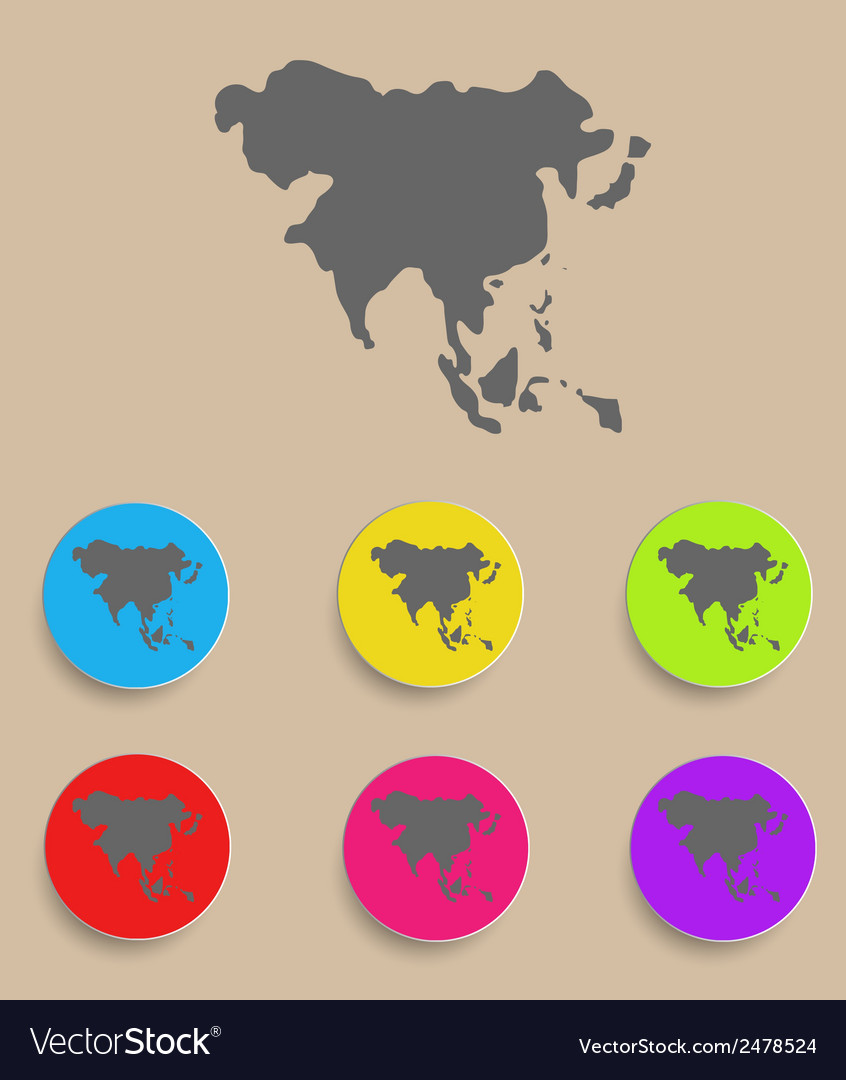 Asia map - icon isolated vector | Price: 1 Credit (USD $1)