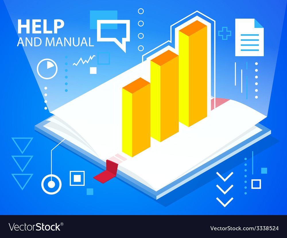 Bright manual book and bar chart on blue bac vector | Price: 3 Credit (USD $3)