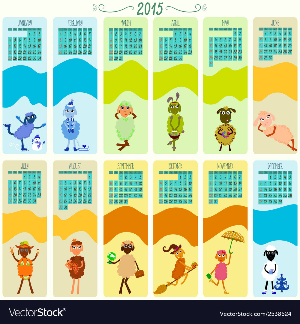 Calendar 2015 with funny sheep vector | Price: 1 Credit (USD $1)