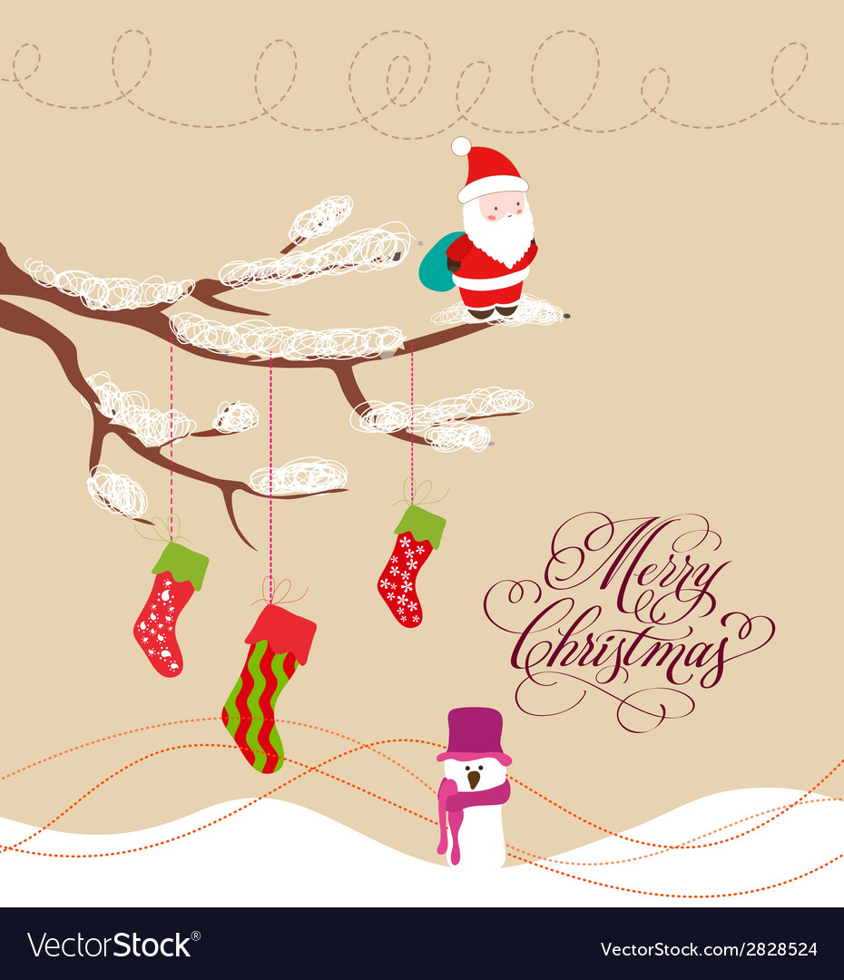 Christmas card with santa claus and snowman vector | Price: 1 Credit (USD $1)
