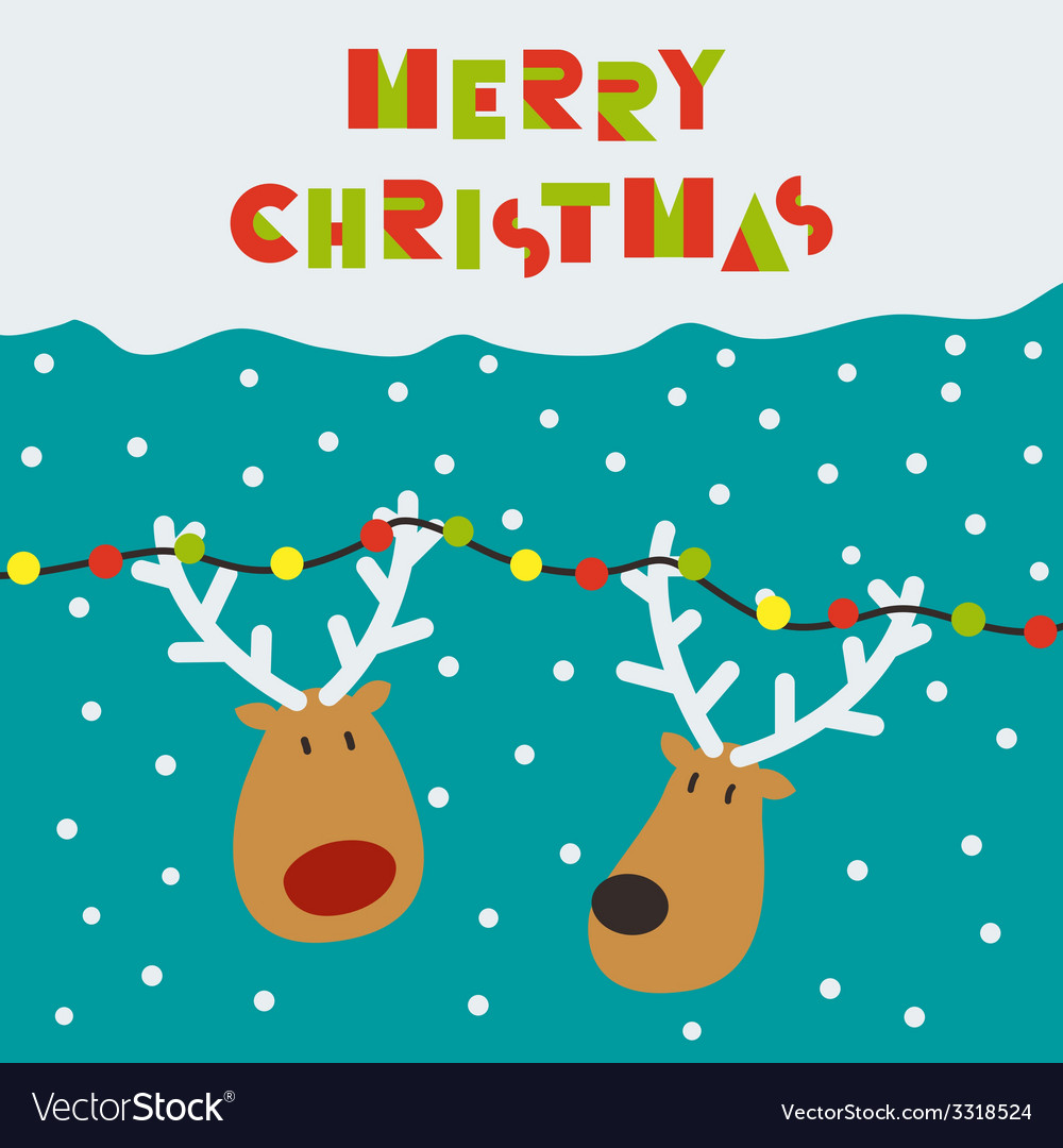 Christmas card with two deers vector | Price: 1 Credit (USD $1)