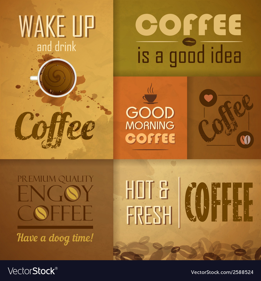 Collection of vintage coffee design elements vector | Price: 1 Credit (USD $1)