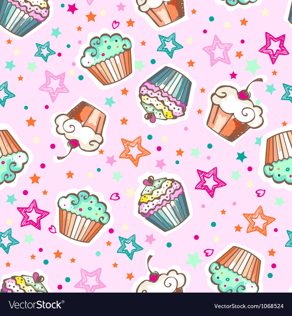 Cute pink cupcakes vector | Price: 1 Credit (USD $1)