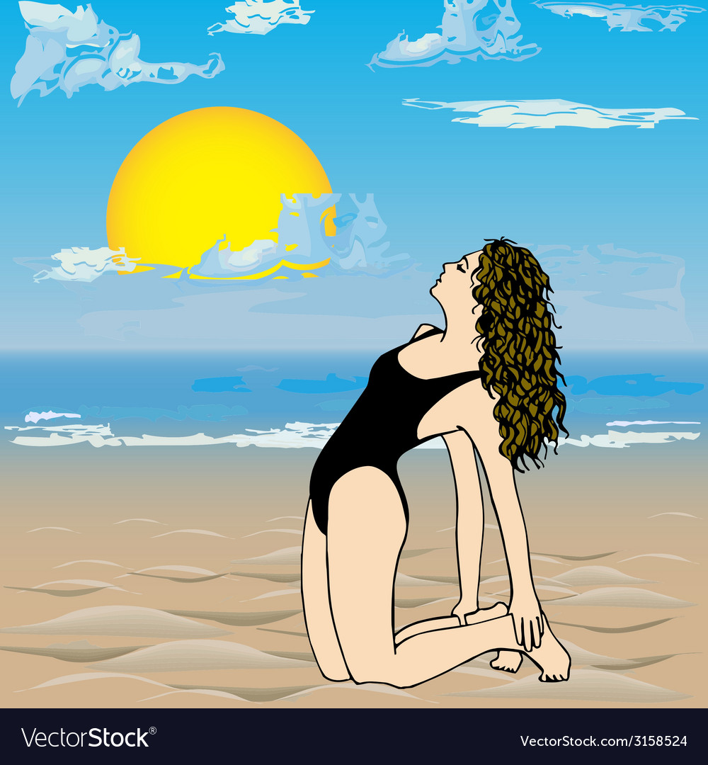 Girl on the beach- vector | Price: 1 Credit (USD $1)