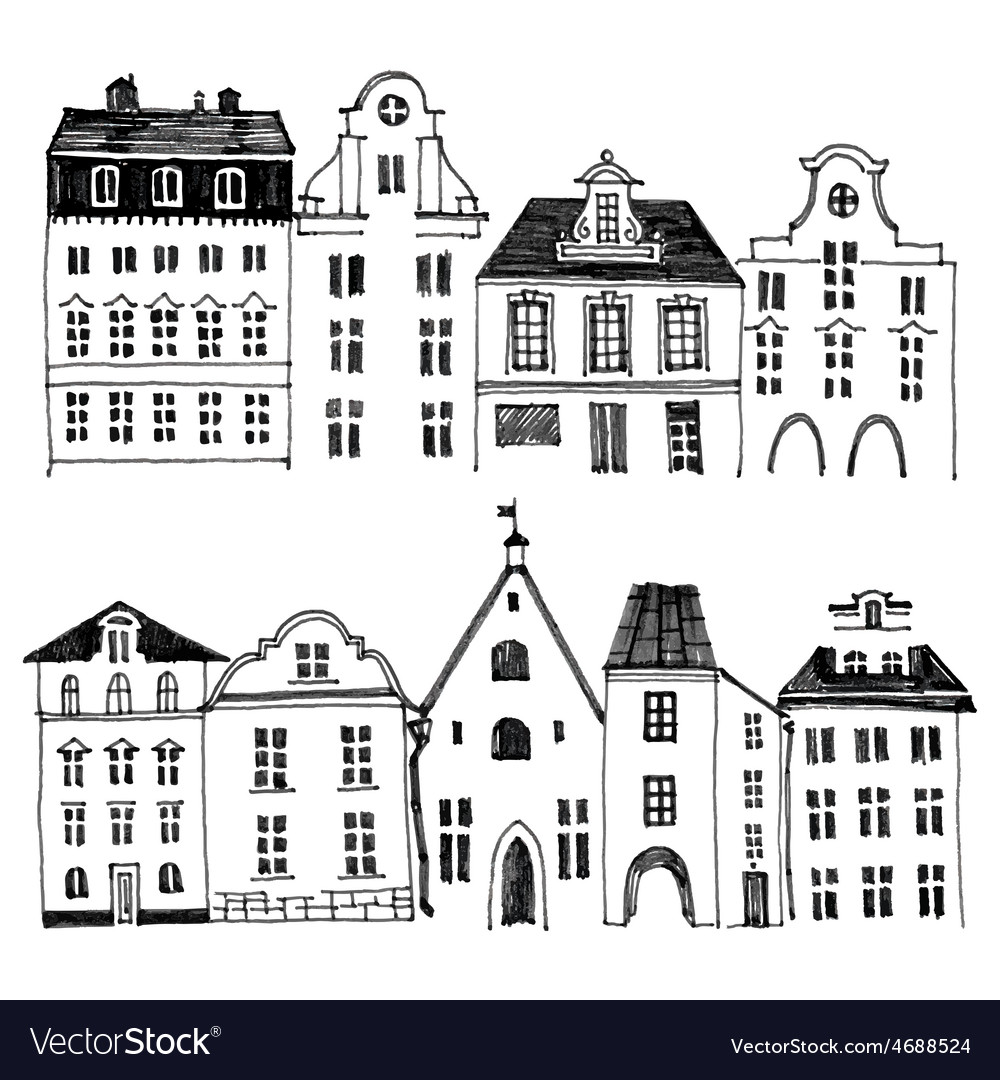 Hand drawn houses borders vector | Price: 1 Credit (USD $1)
