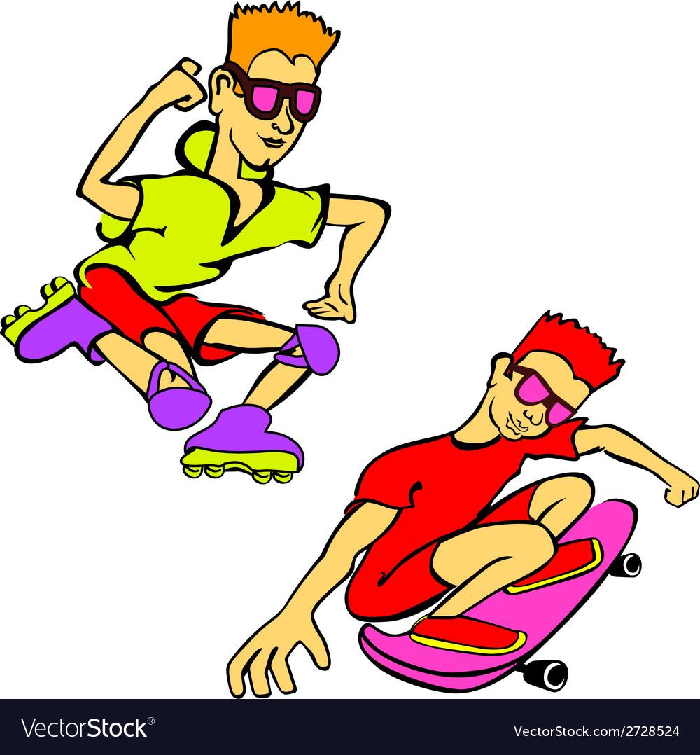 Happy cartoon skateboard boy wearing vector   Price: 1 Credit (USD $1)