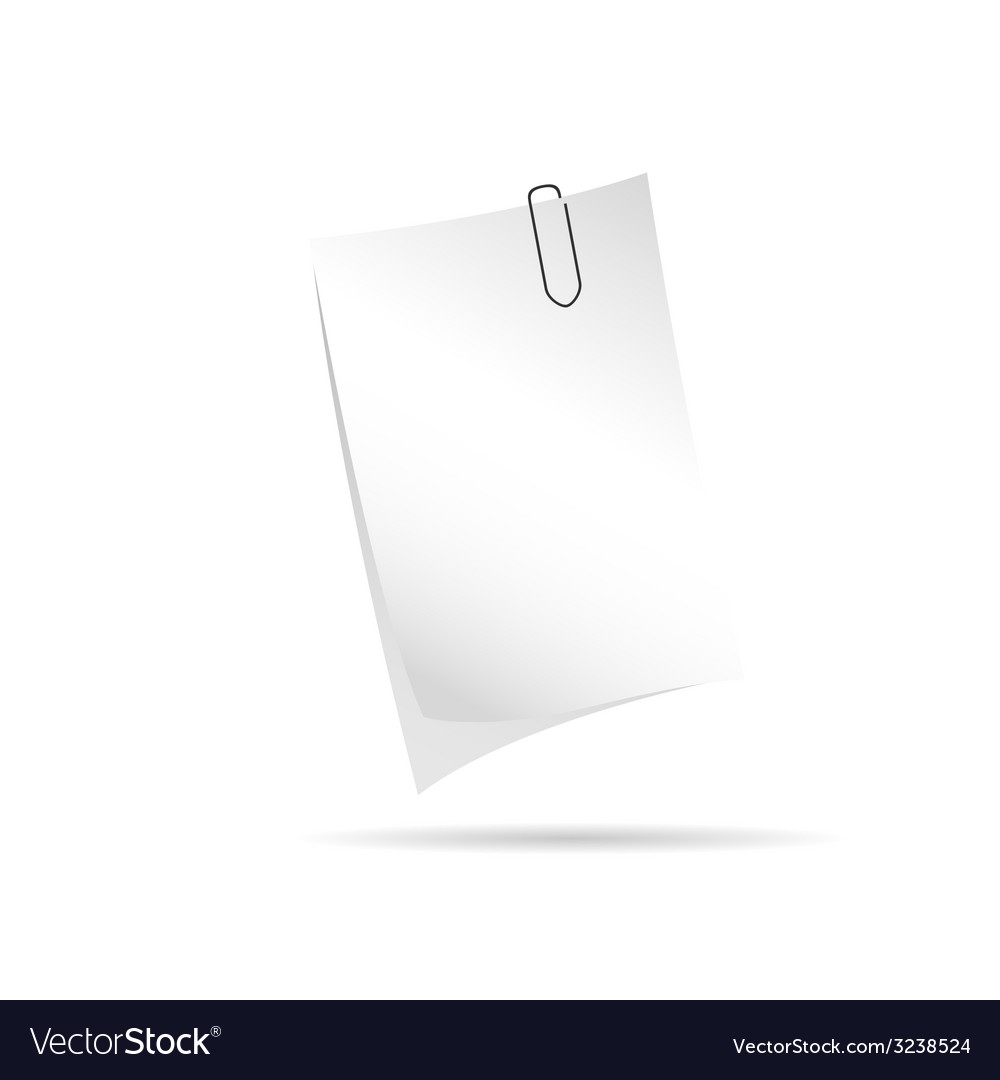 Note with paper clip vector | Price: 1 Credit (USD $1)
