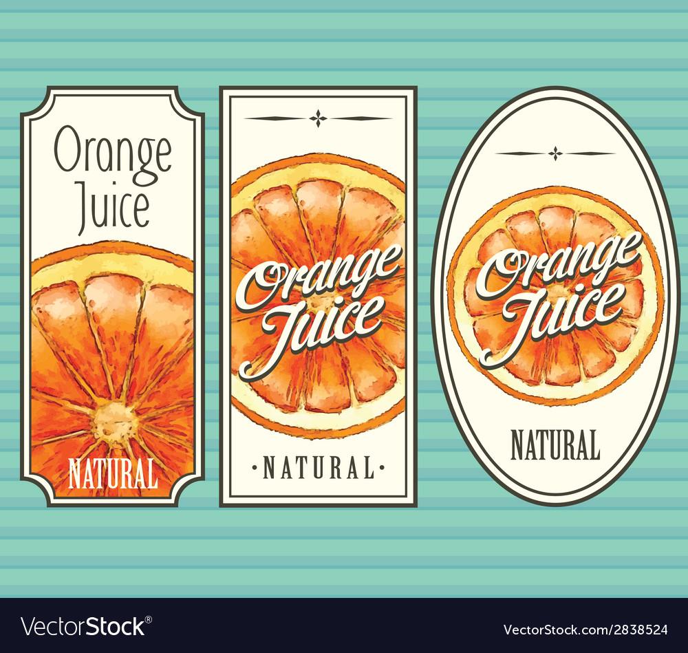 Orange juice labels set vector | Price: 1 Credit (USD $1)
