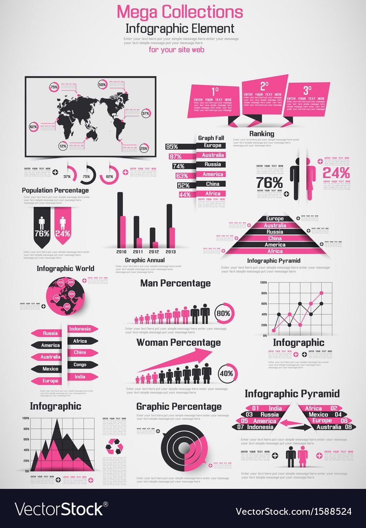 Retro infographic demographic world map elements vector   Price: 1 Credit (USD $1)