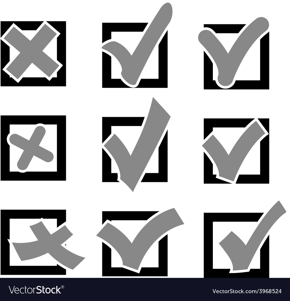 Set check marks or ticks in boxes conceptual vector | Price: 1 Credit (USD $1)