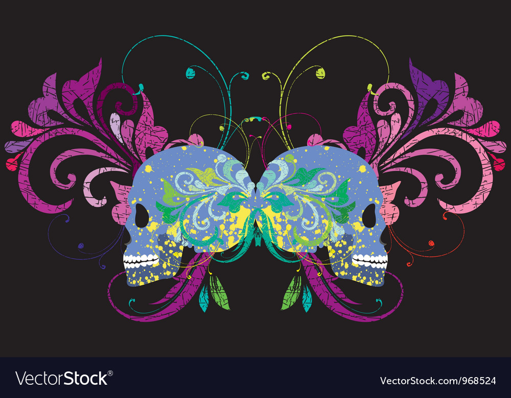 Skull on a grunge background vector | Price: 1 Credit (USD $1)