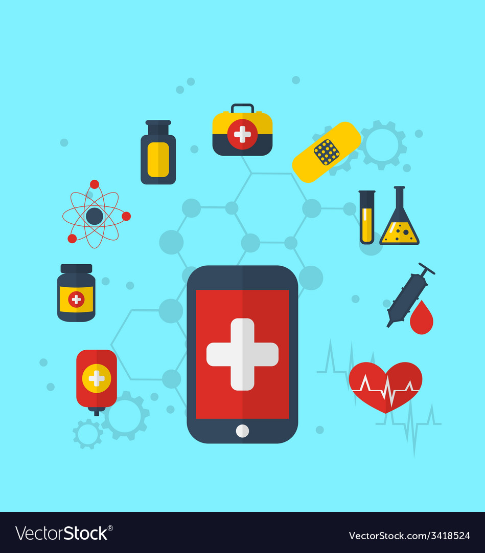 Smart phone with medical icons for web design vector | Price: 1 Credit (USD $1)