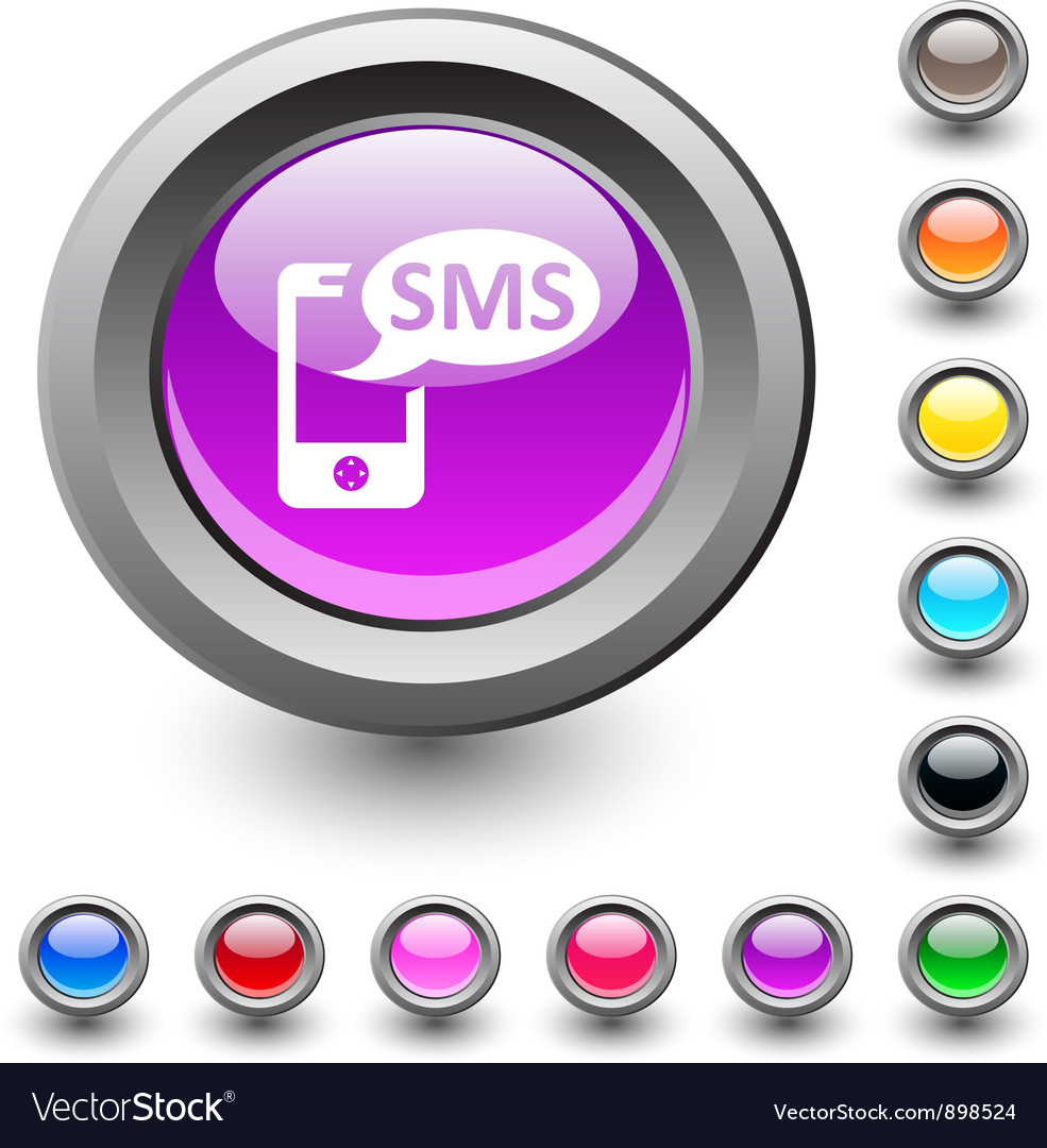Sms round button vector | Price: 1 Credit (USD $1)