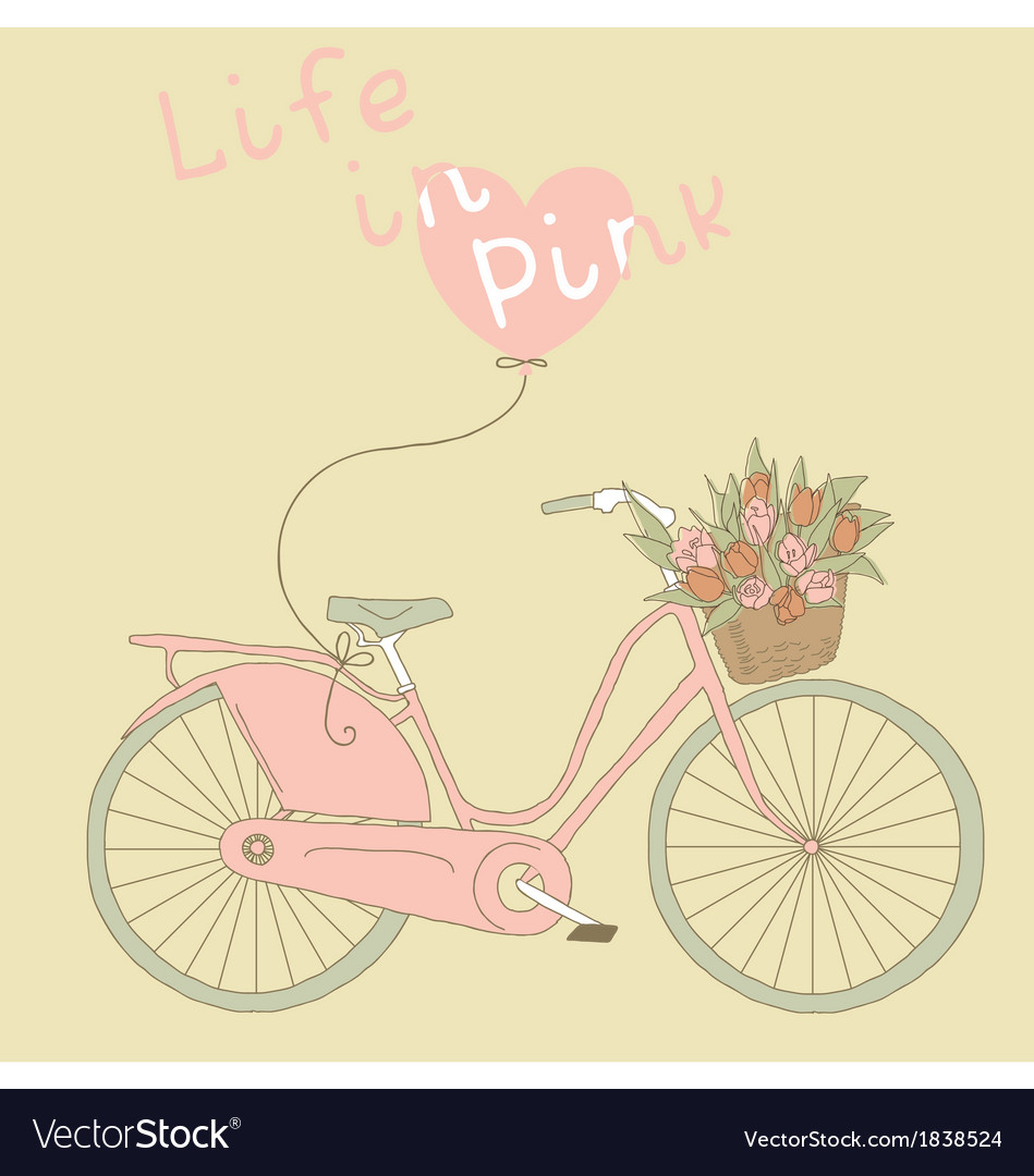 Valentine card with pink bicycle vector | Price: 1 Credit (USD $1)