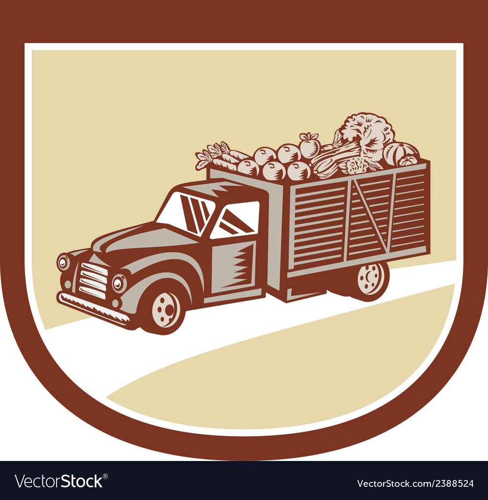 Vintage pickup truck delivery harvest shield retro vector | Price: 1 Credit (USD $1)