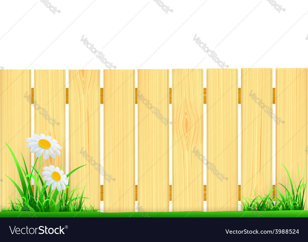 Wooden fence and green grass vector | Price: 1 Credit (USD $1)