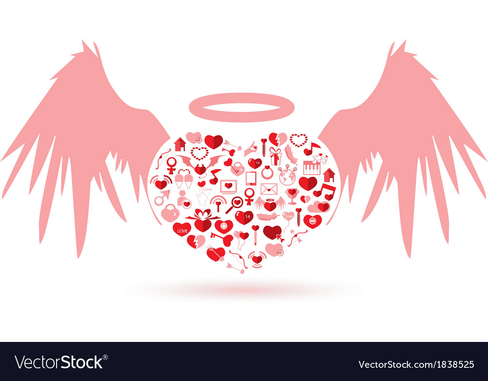 The angel valentines day love icon vector | Price: 1 Credit (USD $1)
