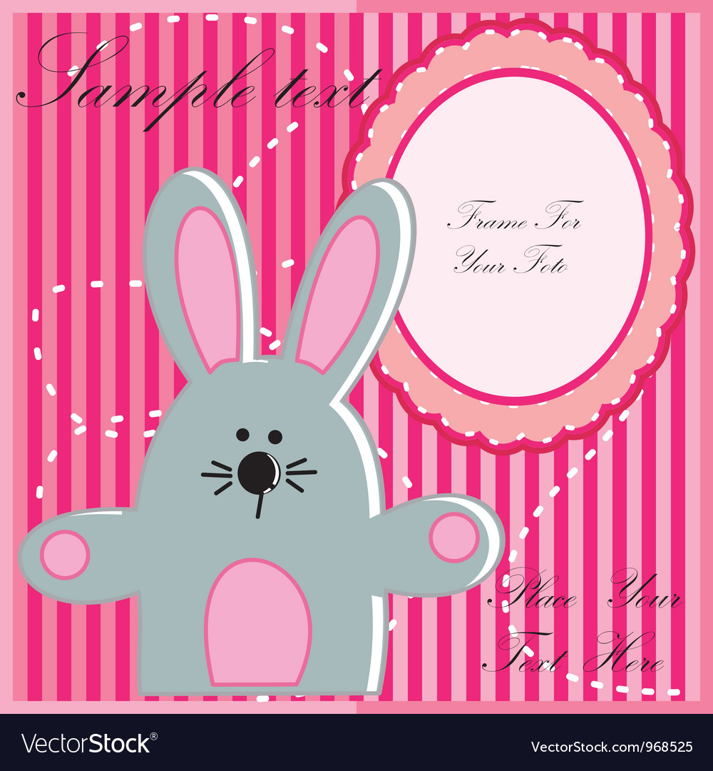 Baby postcard with rabbit vector | Price: 1 Credit (USD $1)