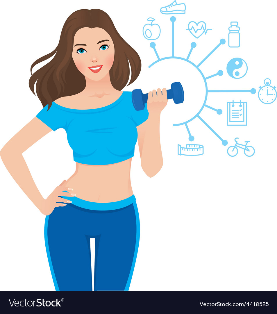 Beautiful slim girl and components of its success vector   Price: 1 Credit (USD $1)