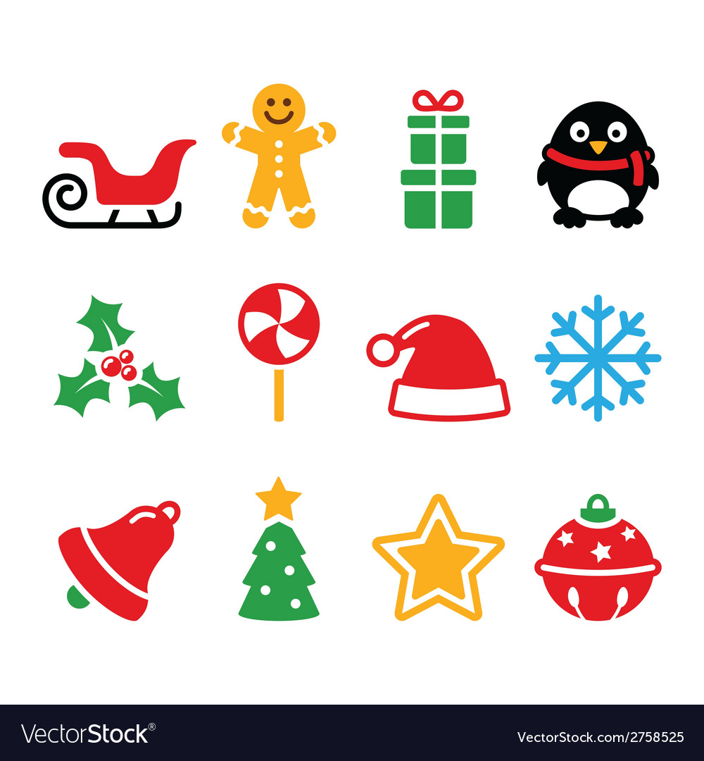 Christmas icons set - santa xmas tree present vector | Price: 1 Credit (USD $1)