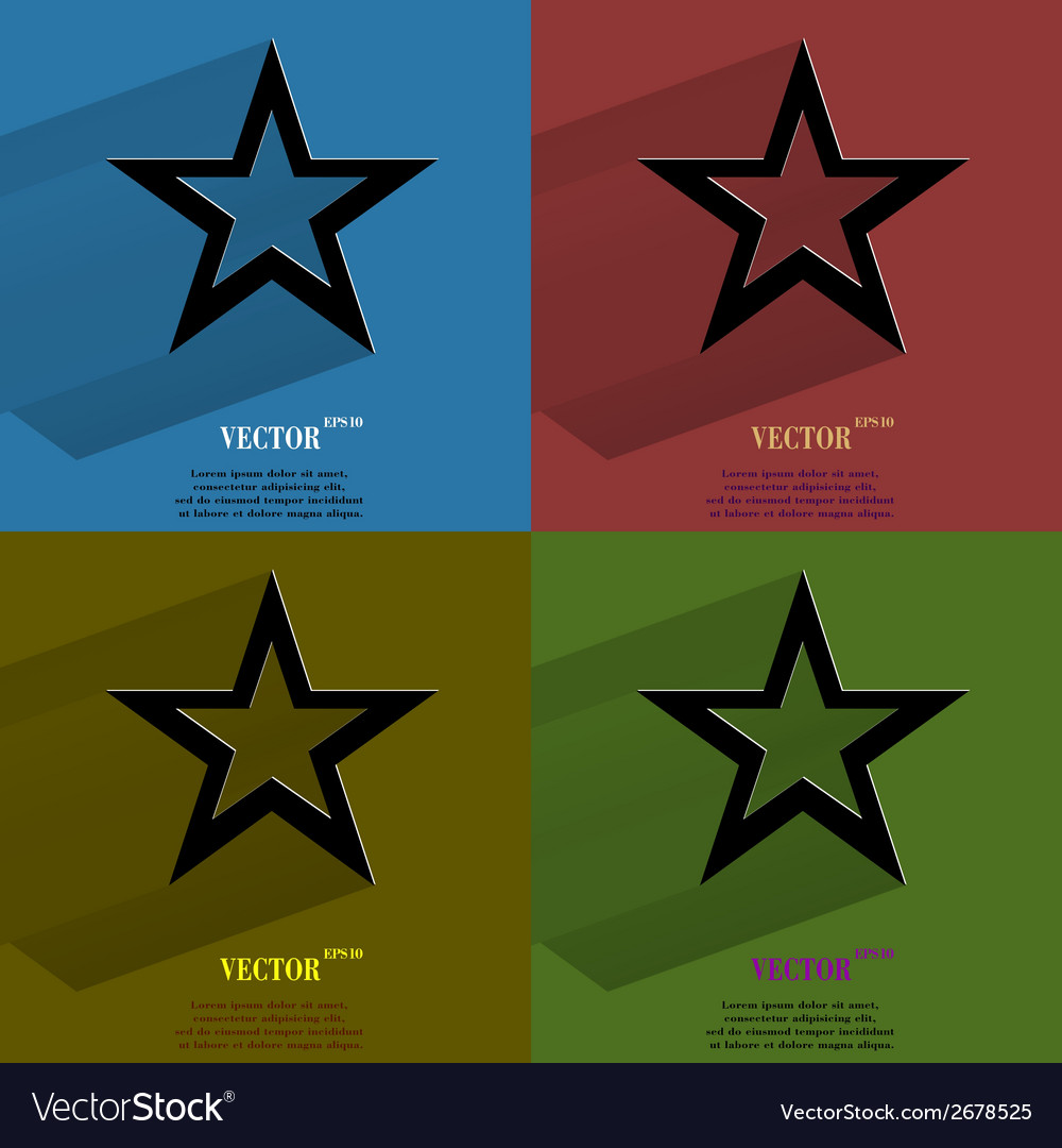 Color set star web icon flat design vector | Price: 1 Credit (USD $1)