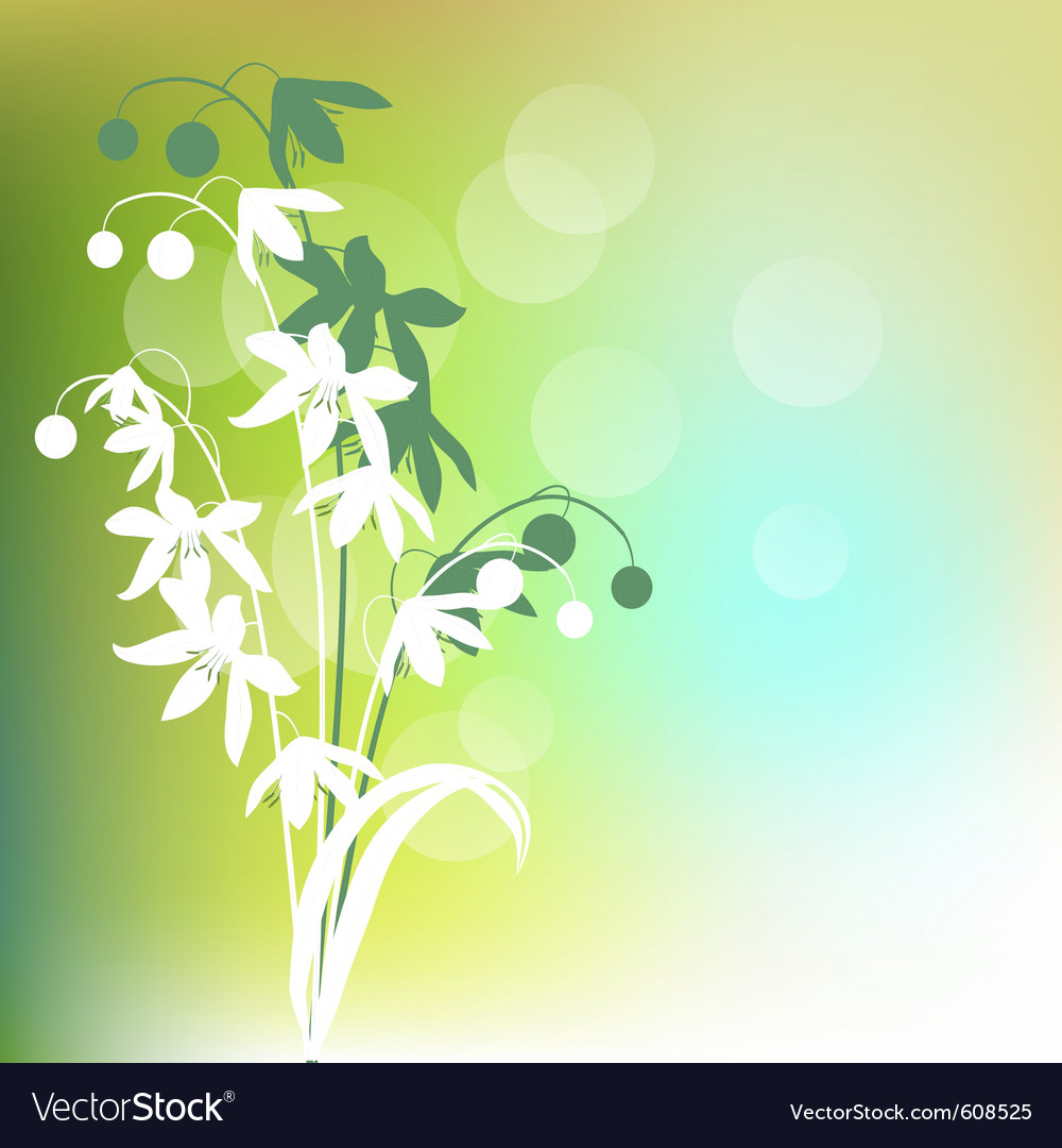 Green background with spring flowers vector   Price: 1 Credit (USD $1)