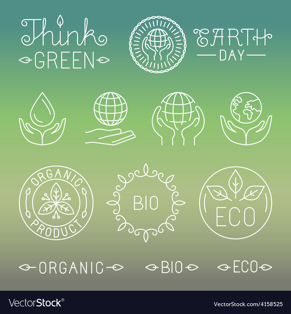 Linear ecology and organic badges and logos vector | Price: 1 Credit (USD $1)